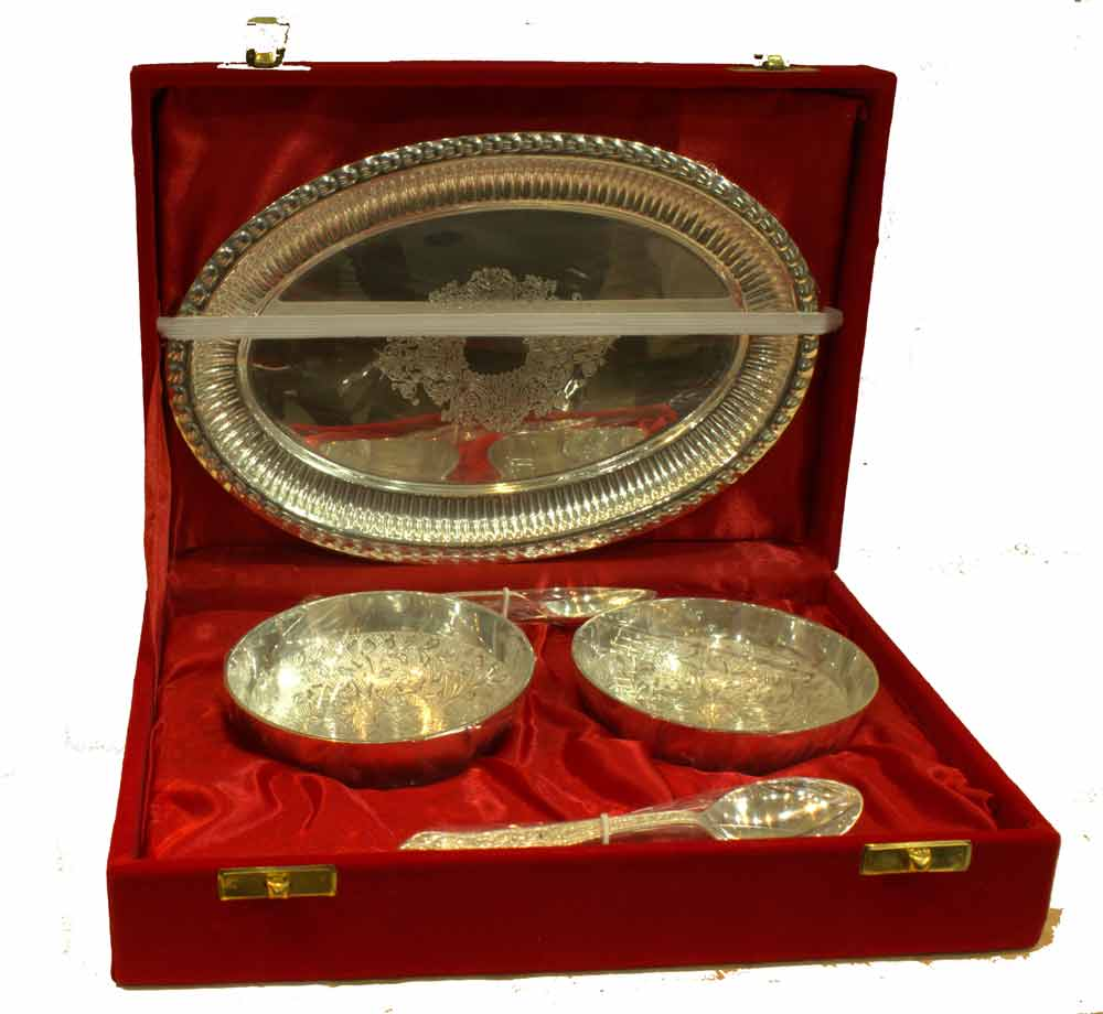Silver Gift Pack 2 Bowls 2 Spoons 1 Plate Home D Cor Gift