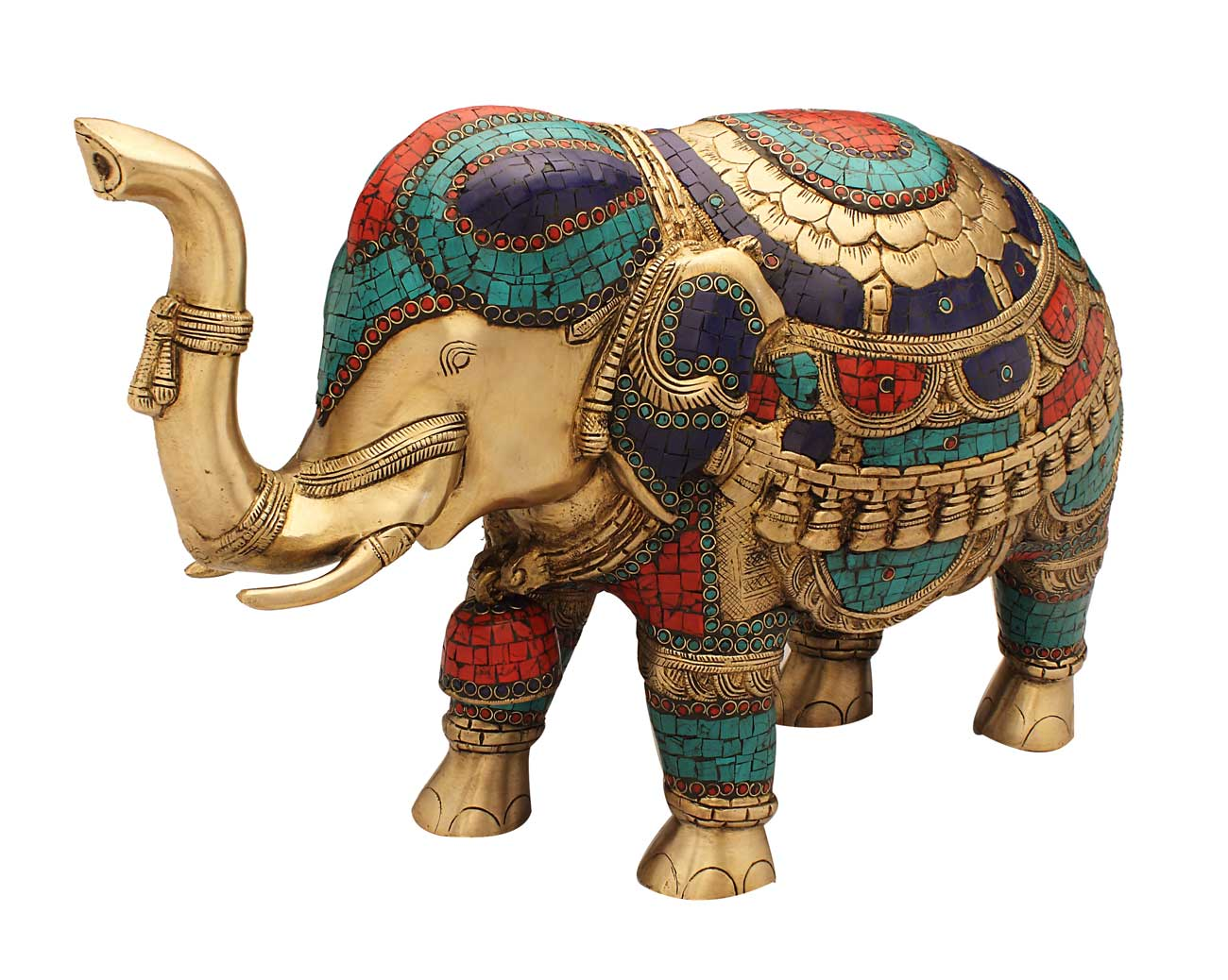Elephant Idol Fengshui Item Turquoise Coral Color Antique Home D Cor 15 Ebay